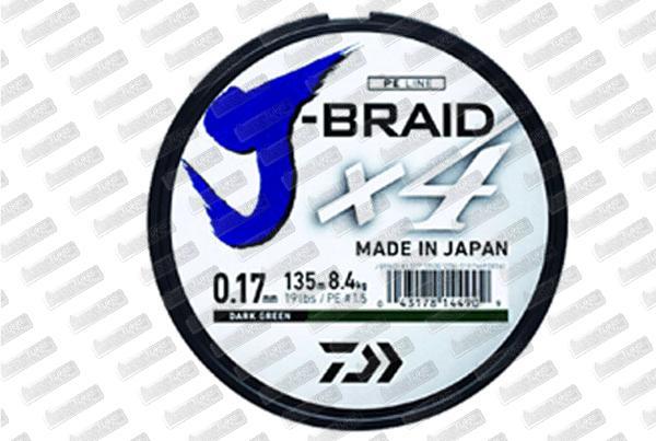 DAÏWA J Braid X4 Verte 27lb (21/100) 1350m